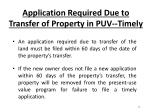 application required due to transfer of property in puv timely