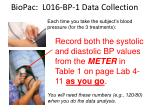 biopac l016 bp 1 data collection