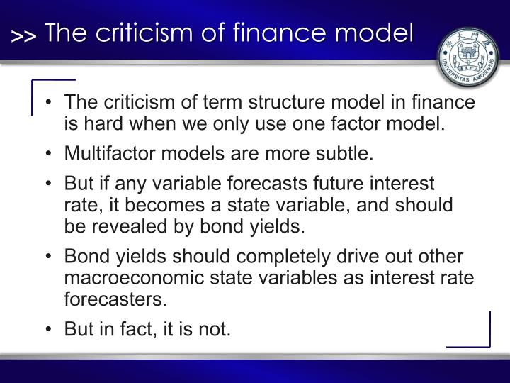 The criticism of finance model