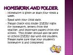 homework and folder