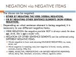 negation via negative items