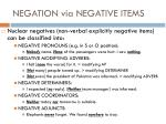 negation via negative items1
