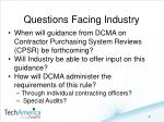 questions facing industry