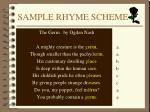 sample rhyme scheme