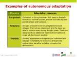 examples of autonomous adaptation