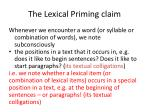 the lexical priming claim9