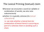 the lexical priming textual claim1