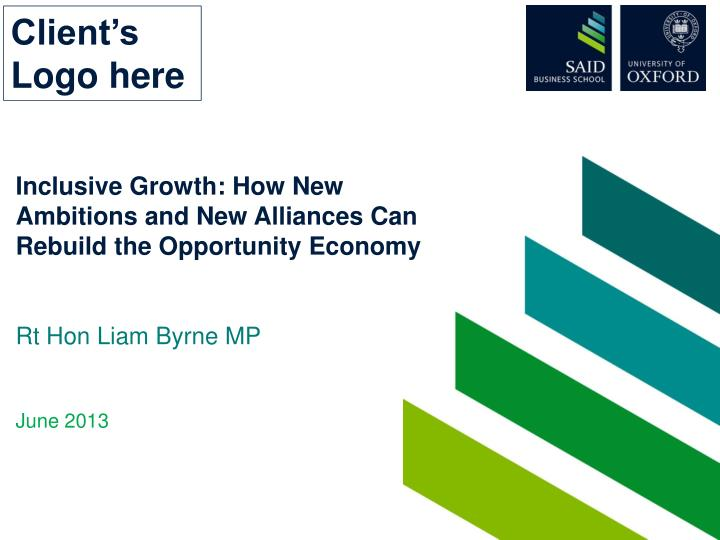 inclusive growth how new ambitions and new alliances can rebuild the opportunity economy n.