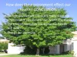 how does the environment effect our health conclusion
