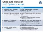 office 2010 transition 2c10 options impact
