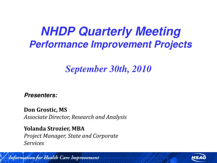 nhdp quarterly meeting performance improvement projects n.