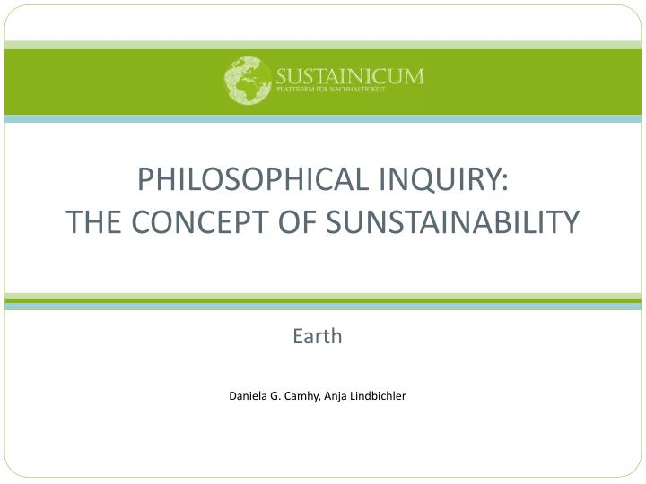 philosophical inquiry the concept of sunstainability n.