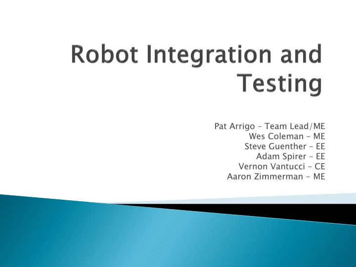robot integration and testing n.