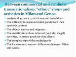 between commercial and symbolic transnationalism ethnic shops and activities in milan and genoa