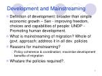 development and mainstreaming