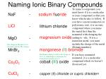 naming ionic binary compounds