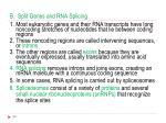 b split genes and rna splicing