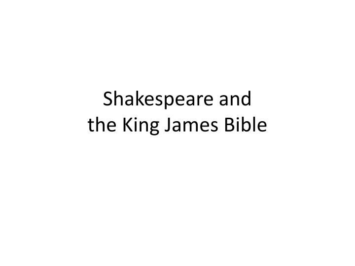 shakespeare and the king james bible n.