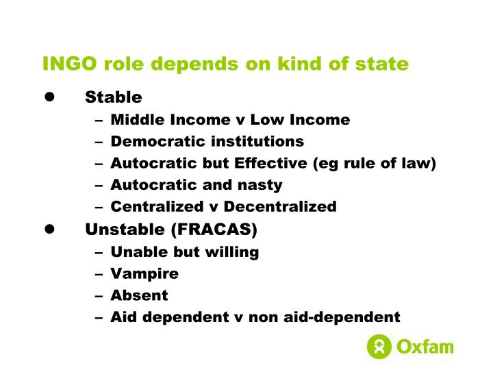INGO role depends on kind of state