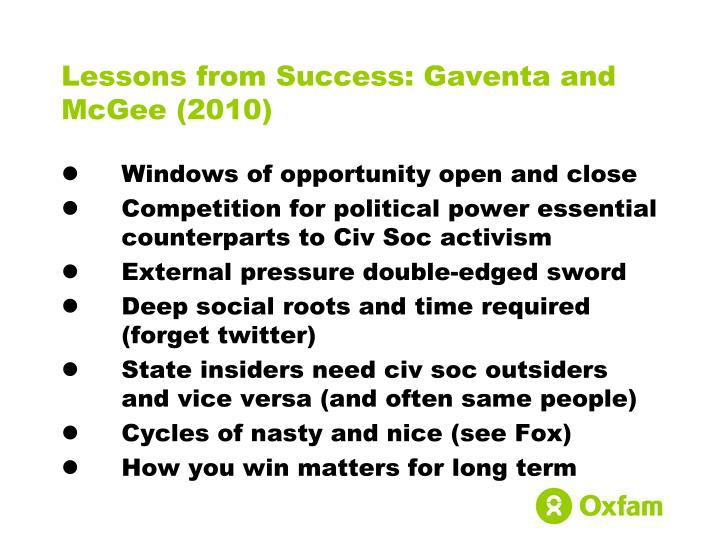 Lessons from Success: