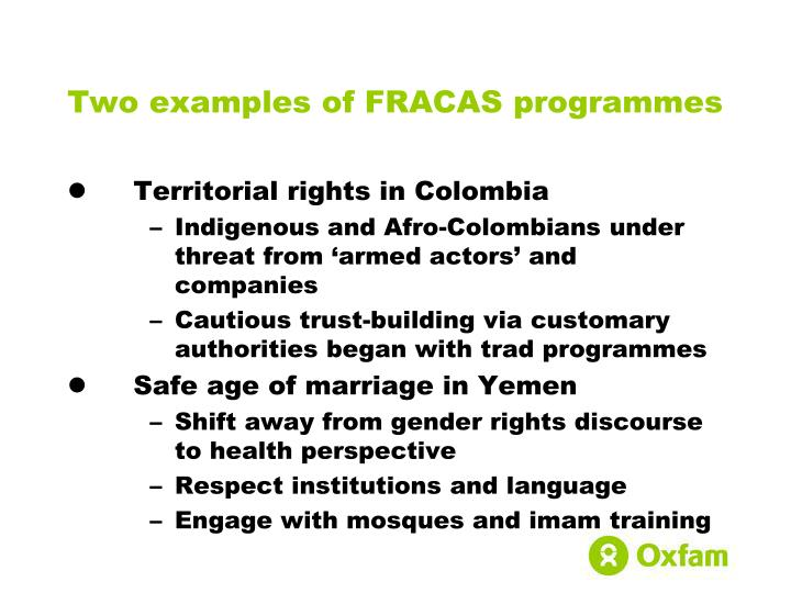 Two examples of FRACAS programmes