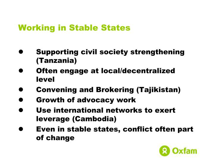 Working in Stable States