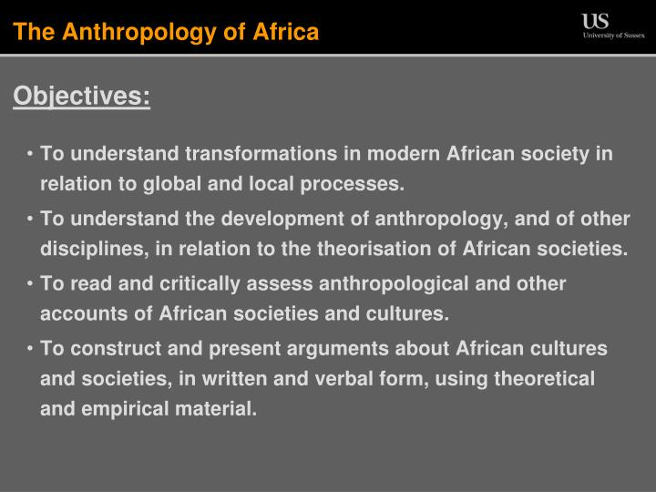 the anthropology of africa n.