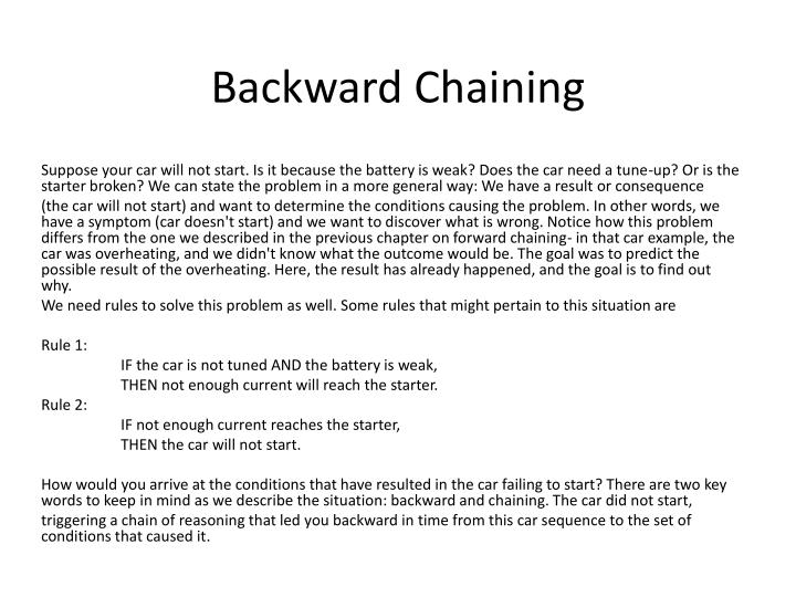 backward chaining n.