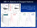 mb p t spectra of charged hadrons