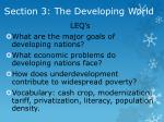 section 3 the developing world