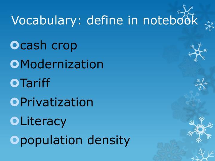 Vocabulary define in notebook