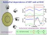 azimuthal dependence of hbt radii at rhic1