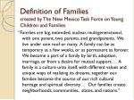 definition of families created by the new mexico task force on young children and families