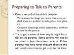 preparing to talk to parents