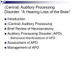 central auditory processing disorder a hearing loss of the brain