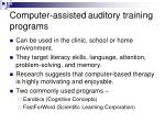 computer assisted auditory training programs