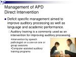 management of apd direct intervention
