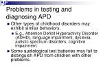 problems in testing and diagnosing apd