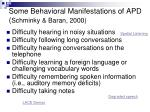 some behavioral manifestations of apd schminky baran 2000