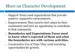 more on character development