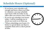 schedule hours optional
