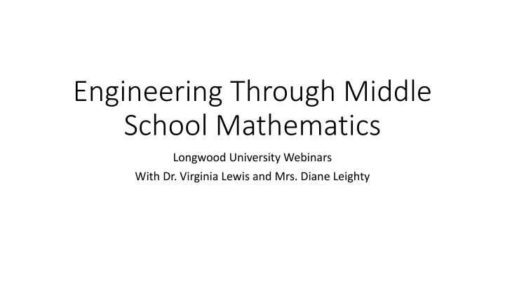 engineering through middle school mathematics n.