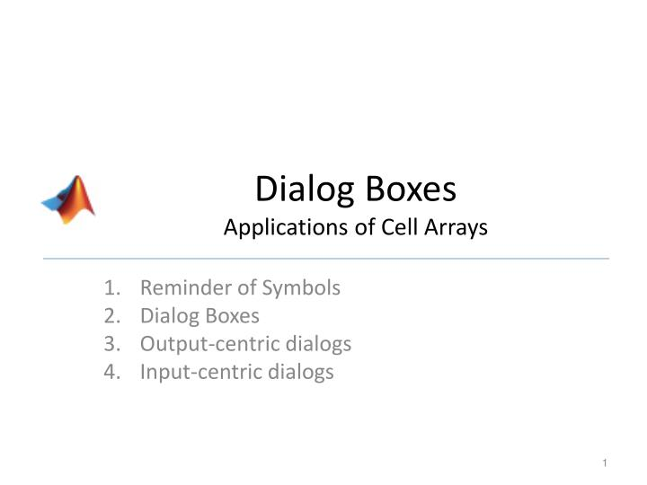 dialog boxes applications of cell arrays n.