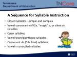 a sequence for syllable instruction