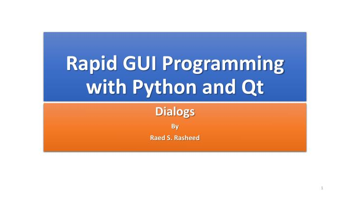 rapid gui programming with python and qt n.