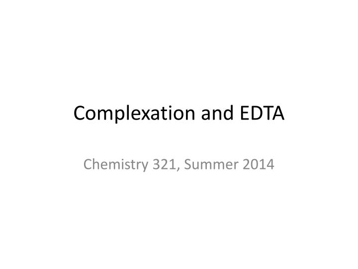 complexation and edta n.