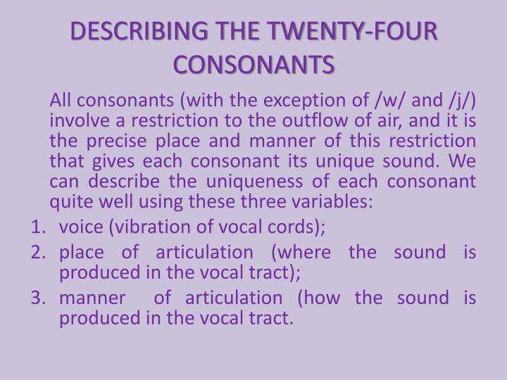 describing the twenty four consonants n.