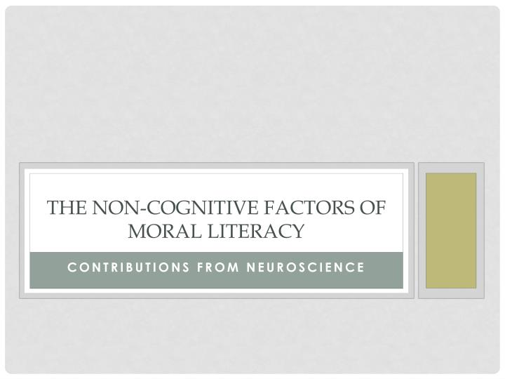 the non cognitive factors of moral literacy n.