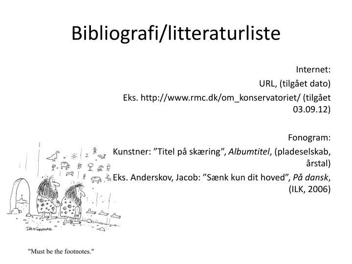 Bibliografi/litteraturliste