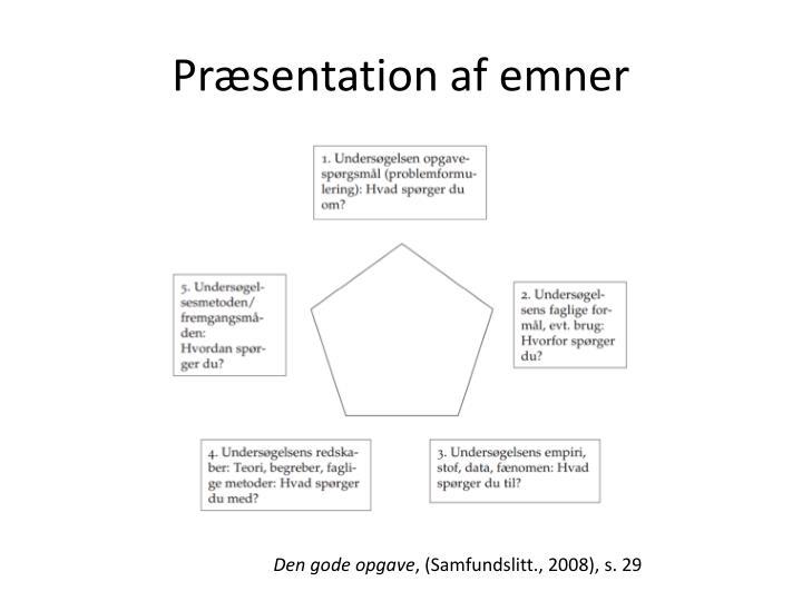 Præsentation af emner